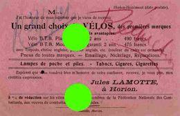 HORION HOZEMONT 1921Jules Lamotte Vélos Vélo Cycles Cycle / RARE - Grâce-Hollogne