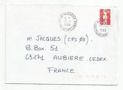 OBLITERATION MANUELLE DE PANNECE LOIRE ATLANTIQUE 1993 - Postmark Collection (Covers)