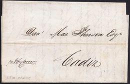 "1842. NEW ORLEANS TO CADIZ. WITHOUT PMK. MANUSCRIPT ""PER JOHN CARRER"". VERY FINE. - United States"