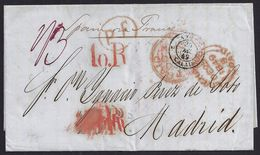 1849. NEW ORLEANS TO MADRID. FORWARDED FROM LIVERPOOL. MULTIPLE TIMES RATED VOER. VERY FINE AND SCARCE. - United States