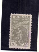 BOLIVIA 1938 AIR MAIL POSTA AEREA AEREO MINER MINATORE CENT. 30c USATO USED OBLITERE' - Bolivia