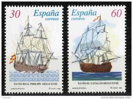 SERIE TIMBRES ESPAGNE NOUVEAUX 1996 ANCIENS BATEAUX VOILIERS DE GUERRE - NAVIRE RÉEL PHELIPE - NAVIRE EL CATALAN - Militares