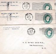 61 - FRANC-MAÇONNERIE (MASONIC) : Entier Postal Canadien Maçonnique De 1930. Trois Loges Différentes ! - Francmasonería