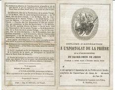 DIPLOME D'AGREGATION A L'APOSTOLAT DE LA PRIERE ET A L'ARCHICONFRERIE DU SACRE-COEUR DE JESUS-1868 - Images Religieuses
