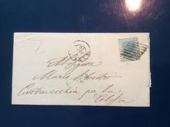 Regno D' Italia Sa.T26 VITERBO 1870+ GRIGLIA (Lazio Stato Pontificio) Lettera > Civitavecchia   (Italy Cover Lettre) - 1861-78 Victor Emmanuel II.