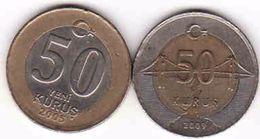 Turkey, 2 X 50 Kurus 2005 + 2009 - Türkei