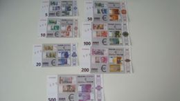 "Test Note Set  ""EZB - ECB 1998"" Typ A, Testnote, 7 Pces., SPECIMEN, Beids. Druck, RRR, UNC - EURO"