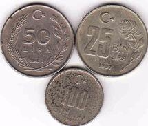 Turkey, 25 Lira 1997 + 50 Lira 1985 + 100 Lira 2001 - Türkei