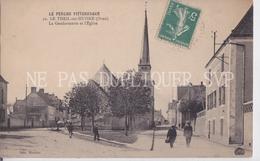 CPA LE THEIL SUR HUISNE 61 LA GENDARMERIE ET L'EGLISE - France