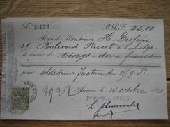 TP N°47 Sur Reçu De La MAISON H.J. BRIDGES Oblitération ANVERS (STATION) 1893 - 1884-1891 Léopold II
