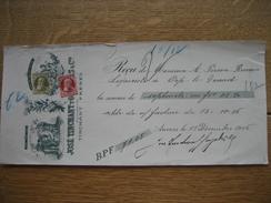 TP N°74 Et N°75 Sur Reçu De JOSE TINCHANT Y GONZALES & Cie Oblitération ANVERS (RUE DE JESUS) 1906 - 1905 Grosse Barbe