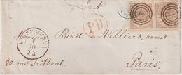 """DANEMARK : N° 14 . PAIRE . DE """" COPENHAGUE """" . POUR PARIS . 1865/70 . ( LEGER DEFAUT ) . - 1864-04 (Christian IX)"""