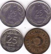 Turkey, 4 X 25 Kurus  1956 + 1962 + 1965 + 2009 - Türkei