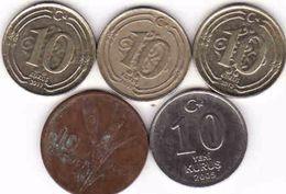 Turkey, 5 X 10 Kurus  1958 + 2005 + 2009 + 2011 + 2013 - Türkei