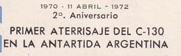 "POLO SUR/SOUTH POLE/PÔLE SUD L'ARGENTINE. ERREUR ERROR  ""PRIMER ATERRISAJE"" WRITING ERROR 1972 - BLEUP - Antarctische Expedities"