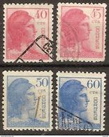 España U 0751/754 (o) Alegoria. 1938 - 1931-Aujourd'hui: II. République - ....Juan Carlos I