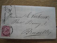 N°38 Sur Lettre De BOUSSU Vers BRUXELLES 1885 - Facture à Entête + Cachet DUCOBU-DECAUDIN Fabricant De Papier à THULIN - 1884-1891 Léopold II