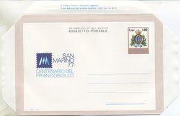 SAN MARINO - BIGLIETTO POSTALE 1977 - CENTENARIO DEL FRANCOBOLLO - NUOVO - Interi Postali
