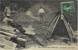 63- Les Forêts Du Morvan -charbonnier Et Sa Hutte -cliché E. Caïus à Autun - Artisanat