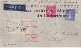 FRANCE : TYPE SEMEUSE . VOL PAR FUSEE . VOL INTERROMPU . SIGNE ROBERTI . 1935 . - Poste Aérienne