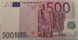 500 Euro Bank Note Uncirculated Serial N - 500 Euro