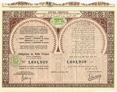 COLONISATION FINANCE MAROC EMPIRE CHERIFIEN PROTECTORAT REPUBLIQUE FRANCAISE  OBLIGATION  EMPRUNT 1952 4 1/2% 1929 1932 - Afrique