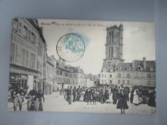 CPA 78 MANTES PLACE DU MARCHE AU BLE ET LA TOUR SAINT MACLOU - Mantes La Jolie