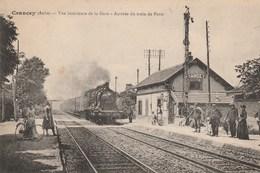 CRANCEY - L'ARRIVEE DU TRAIN DE PARIS - SUPERBE CARTE - BELLE ANIMATION SUR LES QUAIS DE LA GARE -  TOP !!! - Gares - Avec Trains