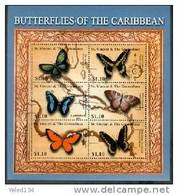 ST.VINCENT   2919 MINT NEVER HINGED MINI SHEET OF BUTTERFLIES-INSECTS   # M-729-2 ( - Vlinders