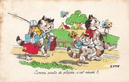Germaine Bouret / Emy  Cat Cats Chat  Butterflye Hollyday  Signe Illustrateur  Old  Postcard Cpa. - Bouret, Germaine