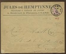 Demi Timbre De 20c Sur Lettre, Postée à GENT Le 5-XII- 1918 - 1915-1920 Albert I