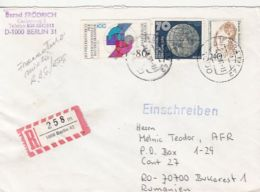 65791- CRAFTS, EARTH, M.F. AMEKE, STAMPS ON REGISTERED COVER, 1991, GERMANY-WEST - Storia Postale