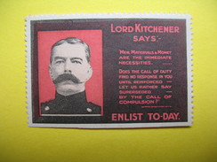 """Vignette Lord Kitchener Says """" Men, Materials & Money Aree The Immediate Necessites....Enlist To-Day - Erinnophilie"""