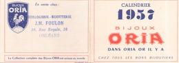 Calendrier Publicitaire Bijoux Oria Année 1957 - Calendriers