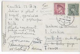 1939 - PRECURSEUR BOHEME-MORAVIE - UTILISATION TIMBRES TCHEQUES Sur CP De KUNSTAT => FRANCE - Lettres & Documents