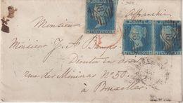 GRANDE - BRETAGNE : N° 4 . 3 EX TOUCHES . POUR LA BELGIQUE . 1854 . - 1840-1901 (Victoria)
