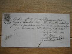 N°35  GAND 1882 Sur Reçu Manuscrit De Mr A. ERNOTTE Directeur Des Hospices Civils à GOSSELIES - 1869-1883 Léopold II