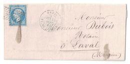 1864 - ETOILE PLEINE + CAD PARIS PLACE DE LA BOURSE Sur LETTRE LAC AFFRANCHIE NAPOLEON N° 14 Pour LAVAL - Marcofilie (Brieven)