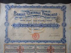 Banque CENTRALE FRANCAISE 1906 - Banca & Assicurazione