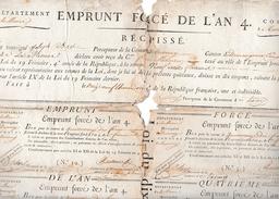 TREVENAY (55) EMPRUNT FORCE De L'AN 4 - 2 Bons Prélevés Normalement - - Documents Historiques