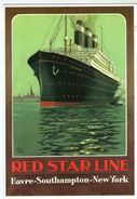 CPM   ANCIENNE AFFICHE   RED STAR LINE     HAVRE SOUTHAMPTON NEW YORK - Steamers