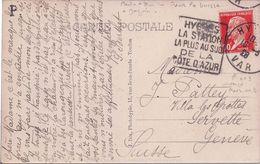 FRANCE - CARTE POSTALE AVEC DAGUIN HYERES POUR LA SUISSE - CURIOSITE LE 3 DE 1928 EMPLOYE A L'ENVERS POUR UN 2 - RARE - Variedades Y Curiosidades