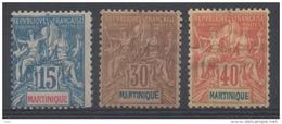 MARTINIQUE - YT N° 36-39-40 - Neufs * (*) - Cote: 130,00 € - Martinique (1886-1947)