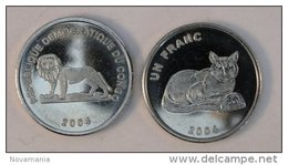 Congo RDC 1 Franc 2004 Golden Cat Chat Animal - Congo (République Démocratique 1998)