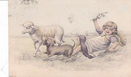 CARD CANE BASSOTTO BASSET DOG-SAUS SAGE-DOG GIOCA CON PECORA BIMBA FESTOSA   FP-V 1909-2-0882-26678 - Chiens