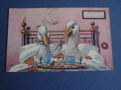 "Oies Prenant Le Petit Déjeuner Au Lit- "" BREAKFAST In BED CHARGED EXTRA "" - Cp Oilette - - Dieren"