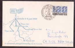"JZ216     Netherlands 1968 Cover ""Spoorphilex 69"" Utrecht To Bern - Postal History"