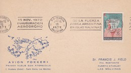 POLO SUR/SOUTH POLE/PÔLE SUD L'ARGENTINE - INAGURACION AERODROMO ISLAS MALVINAS 1973-CARD-  BLEUP - Filatelia Polar