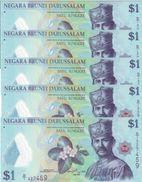 BRUNEI 1 DOLLAR 2011 P-35a UNC 5 PCS [BN301a] - Brunei