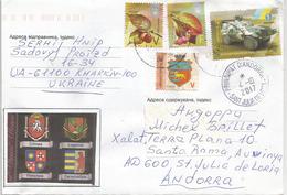 Armoiries Des Province D'Ukraine Avant Séparation: Crimée,Lugansk,Vinnytsia,Zacarpathia, Sur Lettre Adressée ANDORRA - Covers